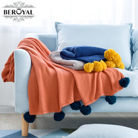 New 2017 Beroyal 1pc Cobertor Pure Color Cotton Blanket Woven Blankets Air Conditioning With Sofa And