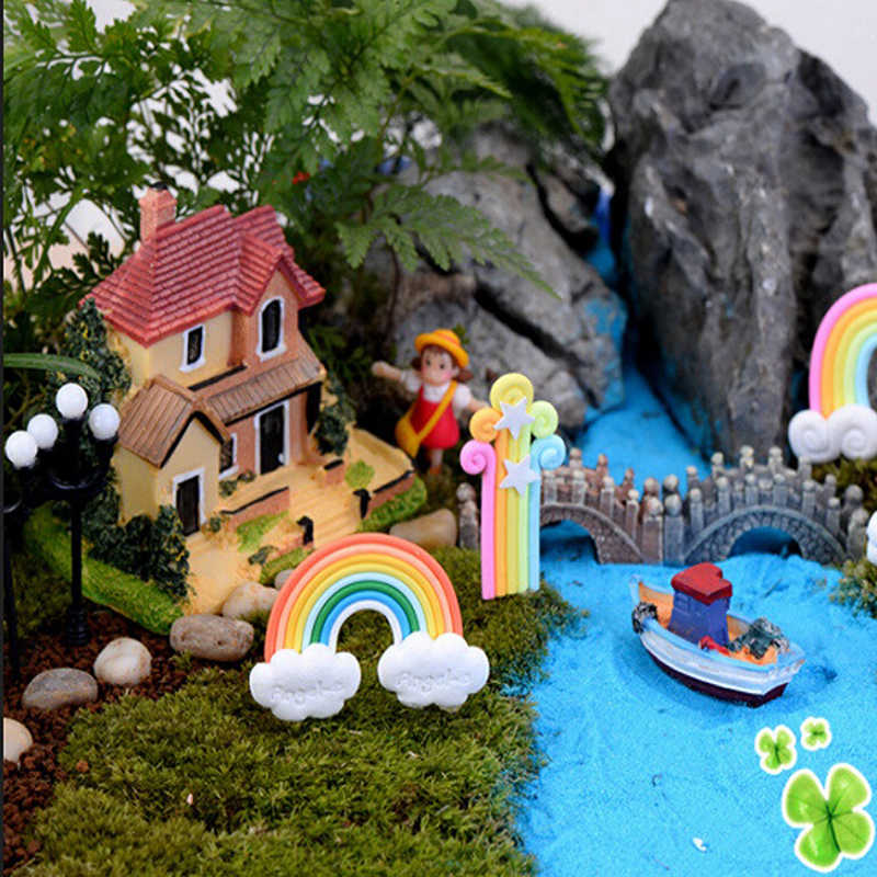 3 arten 1 PCS Wolken und Regenbogen Miniatur Garten Ornament Kinder Zimmer Dekoration Figur Blumentopf Fee Puppenhaus DIY Mini spielzeug