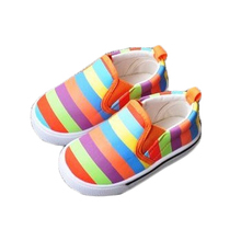 2017 new baby girl pedal shoes canvas shoes flat shoes children girls stripes casual shoes