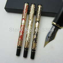 3pcs Free Shipping NIB Jinhao Ping cursive italic style celluloid 0.7MM perfect carvings Pattern Fountain Pen цена 2017