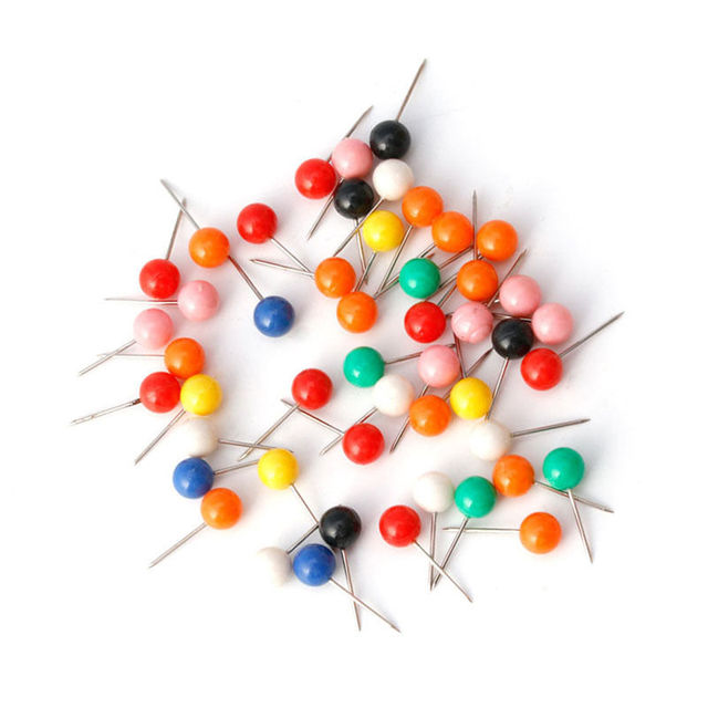 50 unids/bolsa Multicolor redondo perla cabeza alfileres línea de pesca broches pesca aparejos