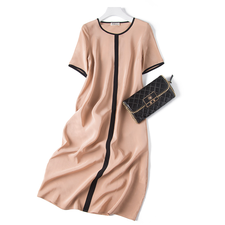 Costura Marino gris Seda Momme Beige Nuevo Con Recortada azul Vestido 2018 negro De 19 xqPOtat0w