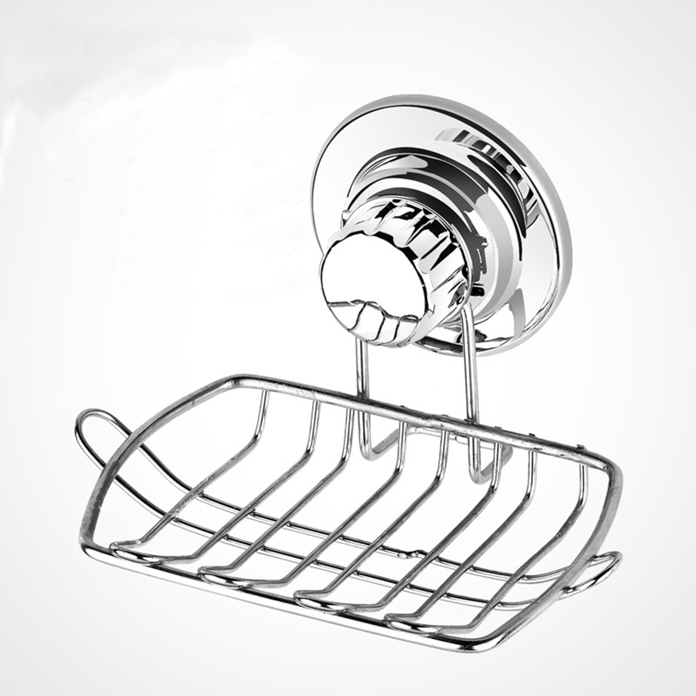 Easy Install Bathroom Stainless Steel Quick Drain Reusable Kitchen Holder Powerful Shelf Suction Cup Soap Dish No Drilling Home