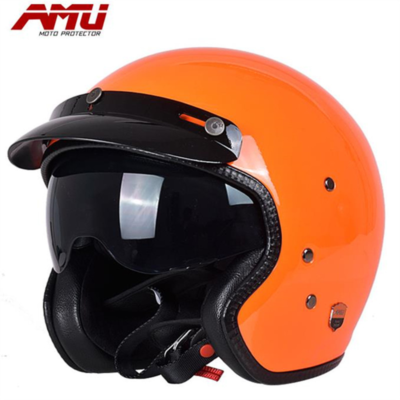 AMU new ultra-light glass steel 3/4 helmet motorcycle helmet tram scooter helmet fashion colorful сосо amu 500