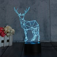 Christmas 3D Visual Deer LED Night Lights Touch Button 2 Mode Switch USB Desk Table Lamp