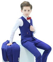 5 Piece Boys Suits Slim Fit Ring Bearer Blue Suit For Boys Formal Classic Costume Weddings