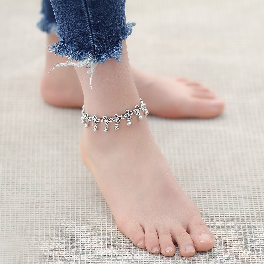HTB1abRdMpXXXXbtXFXXq6xXFXXXc Sterling Silver Anklets - Stylish Women Silver Floral Anklet Foot Chain Jewelry With Charms