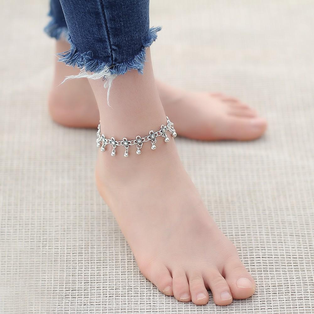 HTB1abRdMpXXXXbtXFXXq6xXFXXXc Sterling Silver Anklets - Stylish Women Silver Floral Anklet Foot Chain Jewelry With Charms