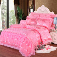 Silk Satin embroidered jacquard wedding home textile,Luxurious Silk duvet cover set Romantic Pink/Red lace princess bedspreads