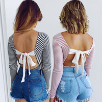 Spring Autumn Sexy Backless Bow knitted top tees Women bustier crop top Casual party Pink tops female cami YF 15
