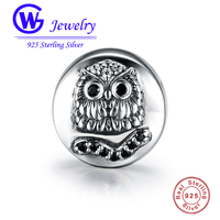 925 Sterling Silver Lovely Owl With The Black Stone Charms Fit The Original Bracelet S925 Heart