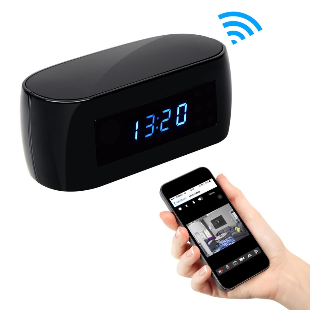 140 Degree Ultra Wide Angle Camera Clock Alarm 1080P Wireless Wifi Night Vision Room Home Security Cam Camcorder Free Shipping