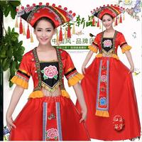 New Ethnic Costumes Zhuang Bride Costumes Guangxi Zhuang Race Dance Stage Costume China Zhuang Nationality Ethnic