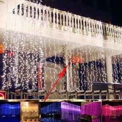 폭포 야외 6 메터 x 3 메터 600 Led 요정 문자열 커튼 빛 크리스마스 웨딩 배경 파티 정원 장식 220 볼트 빛