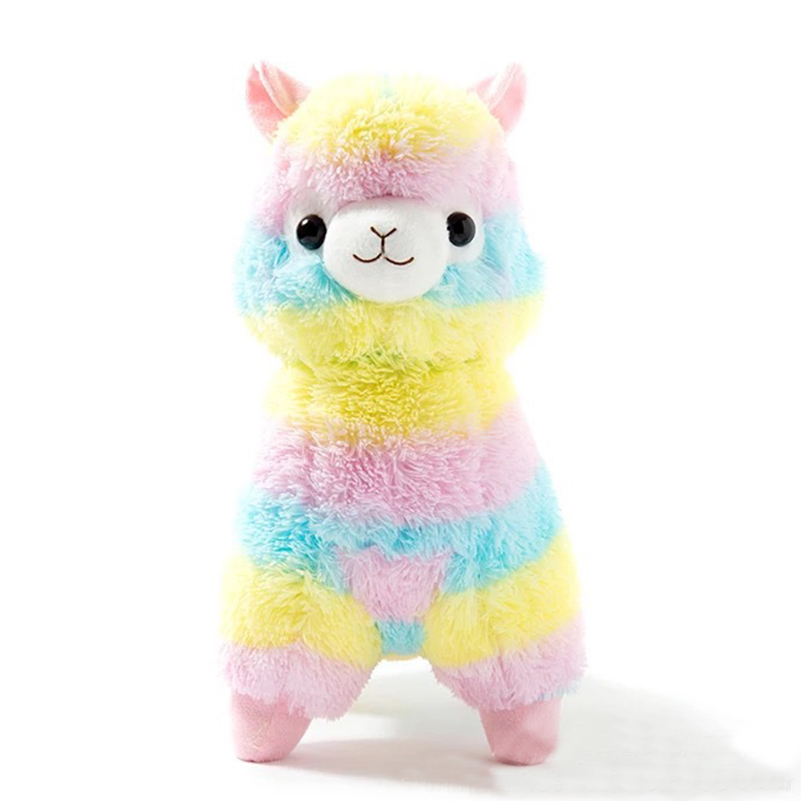 30cm soft llama pillow cartoon rainbow color alpaca plush toy fabric