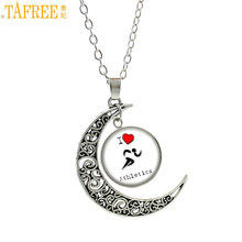 TAFREE 2017 new fashion Track and Field Love Athletics statement necklace men women casual sports moon pendant jwelry gift SP169(China)