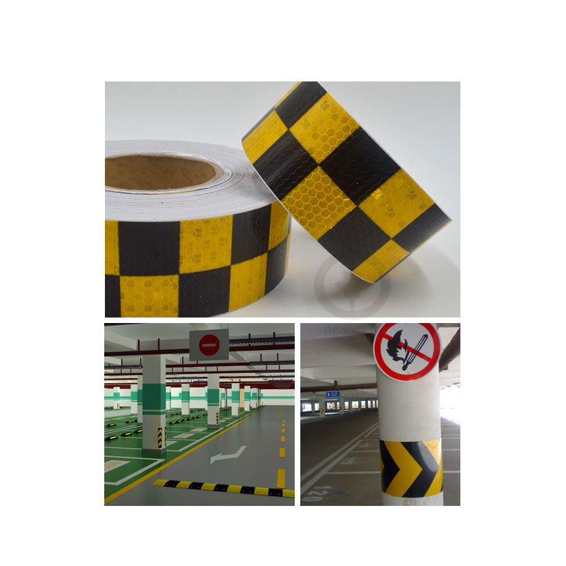 5cmx3m Shining Reflective Warning Self-Adhesive Stikcer With Yellow Black Color Square Printing For Fashion