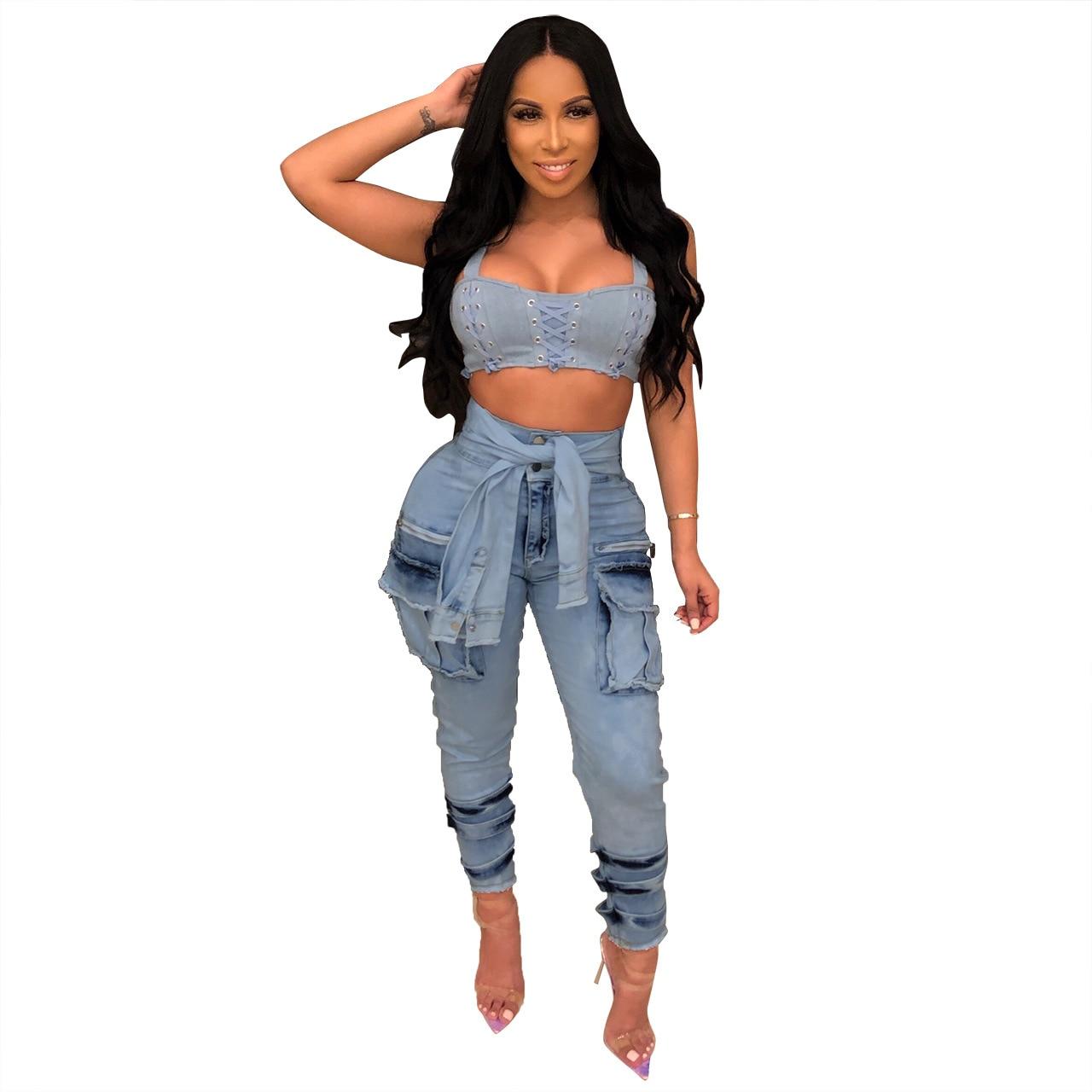 2019 New Summer Women Tie High Waist With Pocket Pencil Long Jeans Vintage Fashion Denim Pants Classic Beach Pants Q255