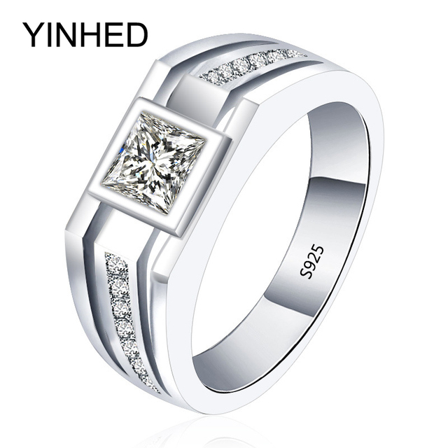 90% Promotion !! YINHED Real Solid 925 Sterling Silver Rings for Men Wedding Engagement Ring Fashion Zircon CZ Jewelry ZR282