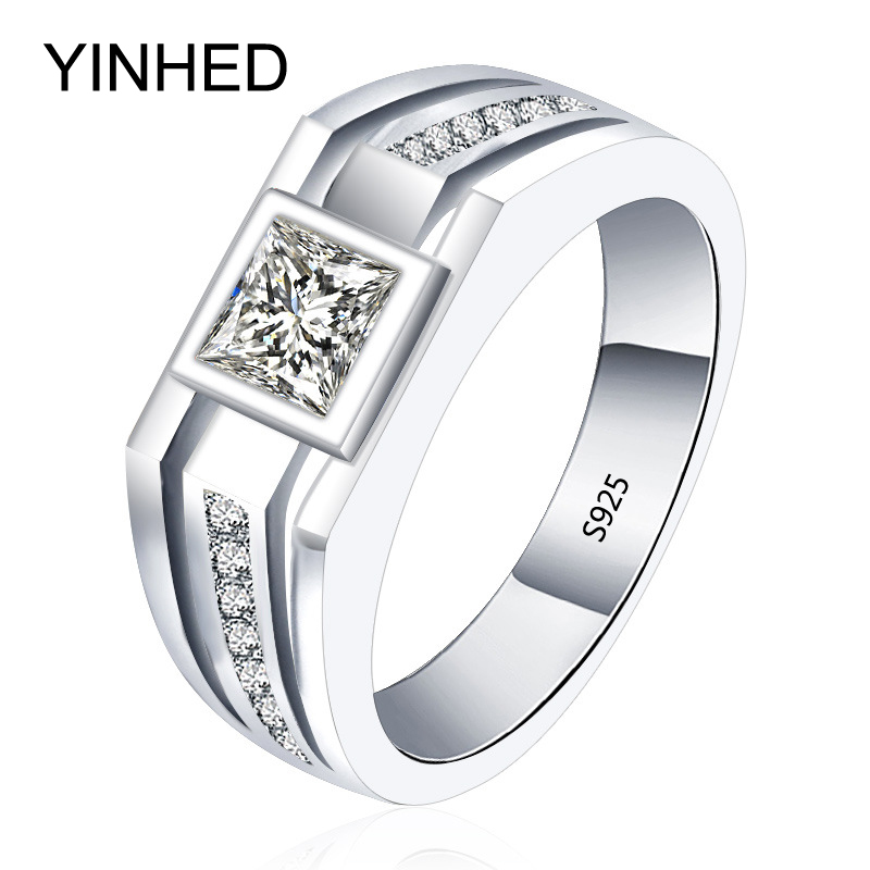 yinhed real solid 925 sterling silver rings for men wedding engagement ring fashion zircon cz jewelry zr282 - Cheap Sterling Silver Wedding Rings