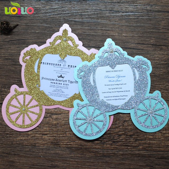 Glitter Lovely Laser Cut Simple Unique Carriage Baby Kid Birthday Invitation Cards Christening Custom