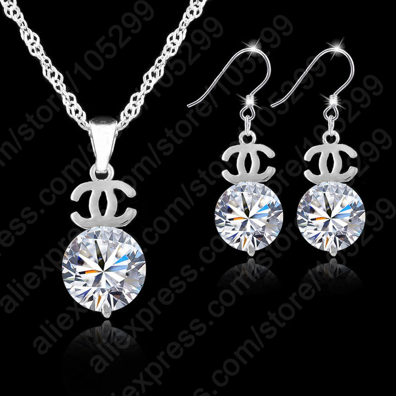 2017 Woman Jewelry Sets Rhodium Plate 925 Sterling Silver Jewellery Set Cubic Zirconia Cz Pendant Necklaces Earrings Brand Top In From