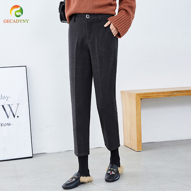 New Fashion Autumn and Winter Thick Warm Woolen Pants Women Casual Harem Pants Plus Size S-3XL Lady Office Pants OL Trousers