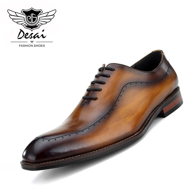 Desai 2018 New Arrival Men's Business Dress Shoes British Pointed Toe Lace Up Formal Carved Men's Leather Shoes Hot Sale hot sale mens genuine leather cow lace up male formal shoes dress shoes pointed toe footwear multi color plus size 37 44 yellow