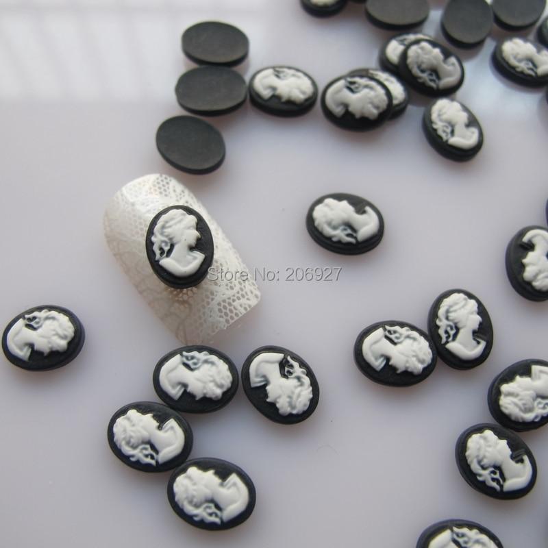 RC154 30 шт милые черные камео формы ногтей смолы украшения Outlooking