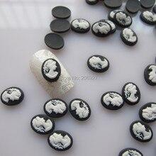 Rc154 30 pcs preto bonito Cameo forma prego resina decoração Outlooking