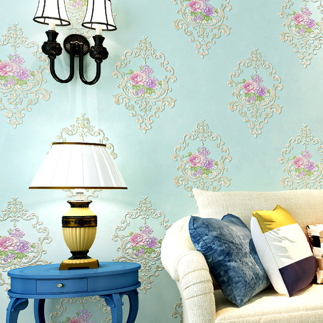 European Style Pastoral Flowers 3D Non Woven Wallpaper Bedroom Wedding House Warm Romantic Backdrop Wall Decor Modern Wallpapers