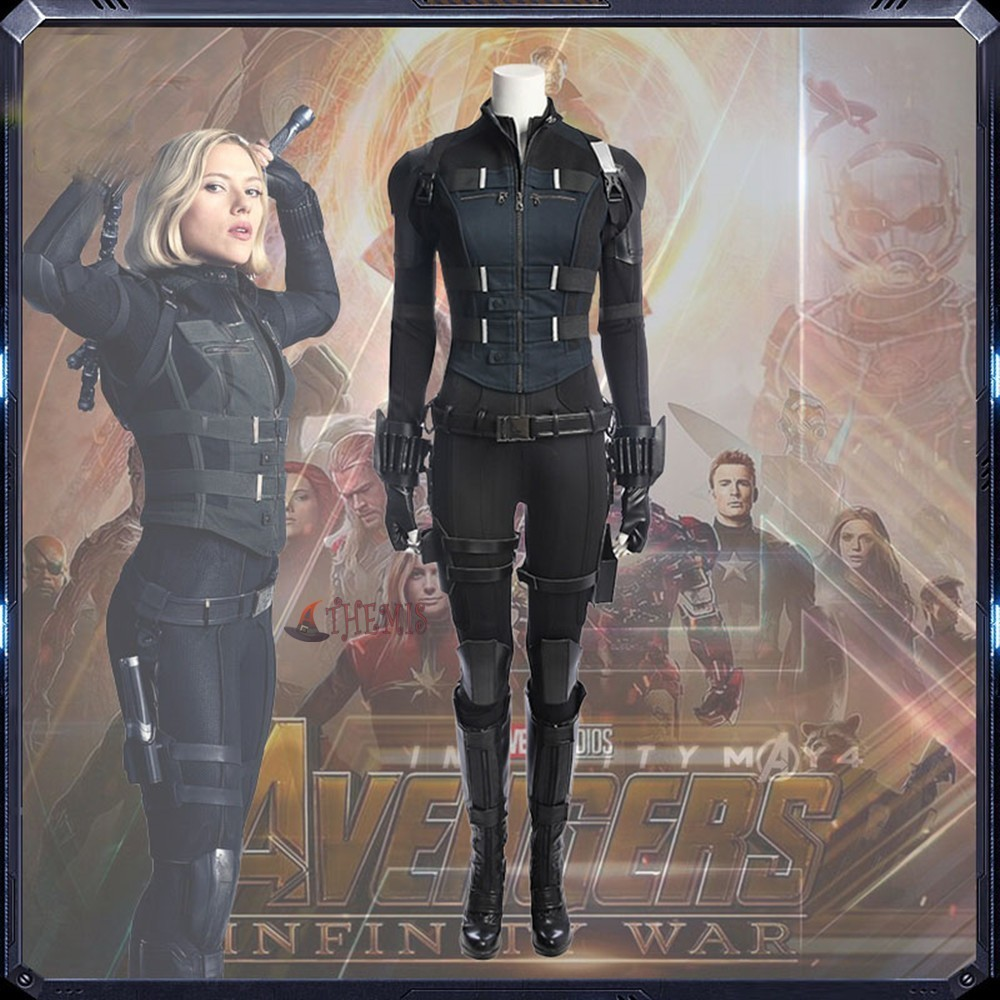 Hot Avengers Infinity War Black Widow Cosplay Costume Natasha Romanoff Costume Dress For Halloween Party Full