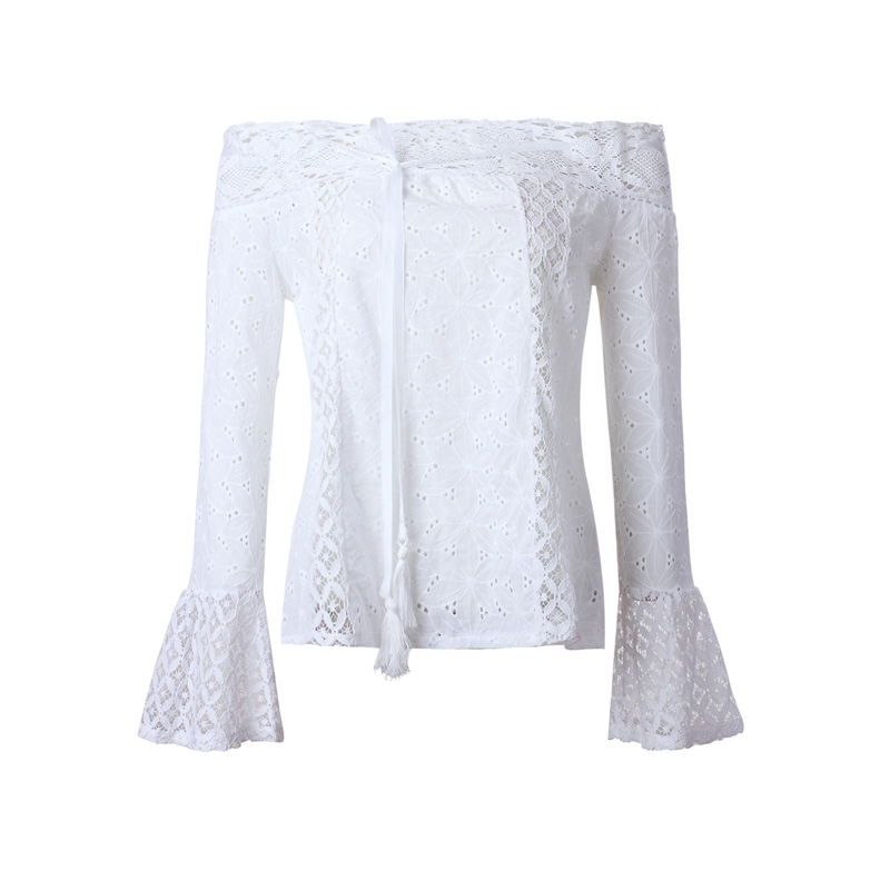 women blouses long flare sleeves Lace Tassel Solid color Slash neck off shoulder women tops sexy fashion summer shirts in Blouses amp Shirts from Women 39 s Clothing