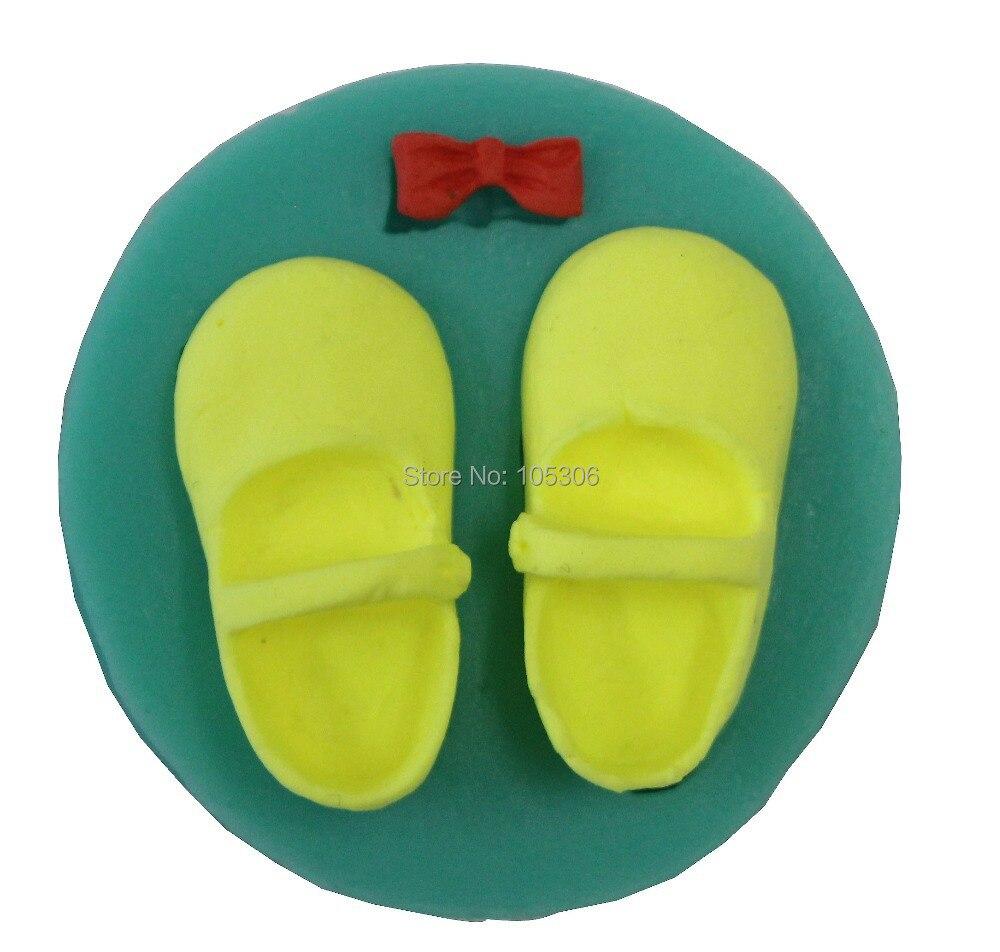 DIY 아기 신발 Bowknot 3D 실리콘 케이크 금형 비누 금형 캔디 젤리 케이크 장식 도구 퐁듀 몰드 De Silicona
