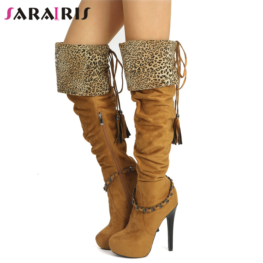 SARAIRIS New Plus Size 34-47 Zip Cross Tied Metal Decoration Fringe High Heels Shoes Women Casual Party Sexy Over The Knee BootsSARAIRIS New Plus Size 34-47 Zip Cross Tied Metal Decoration Fringe High Heels Shoes Women Casual Party Sexy Over The Knee Boots