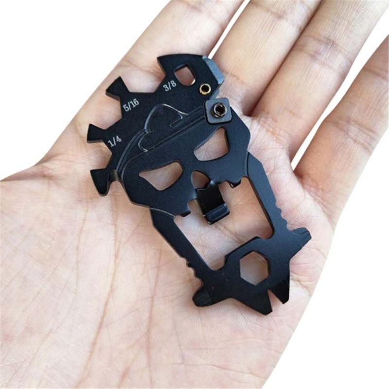 Stainless Steel EDC Pocket Multi-tool Screwdriver Crowbar Titanium Skull Keychain Llaveros Skeleton Bottle Opener Screwdrivers