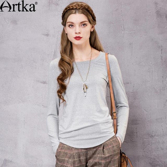 Artka das mulheres do outono new vintage sólido o pescoço completo manga casuais todo o jogo magro comfy curto tee ta10163q