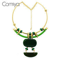 Grass Green Promotion Novelty Chunky Korean Bijoux Women Collares Acessorios Para Mulher Paris Necklaces 10K Plated