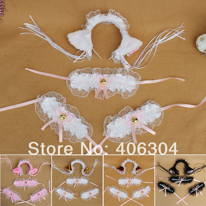 Free shipping ,Cosplay party halloween dress up costume, plush animal lace cat ears hair bands ,headband,wrist strap,neck ring