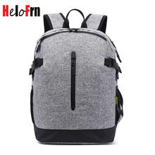 HeloFrn Canvas Backpack Men Laptop Bag USB Charging Backpack Male Teenager Boy Waterproof Travel Mochila Large Capacity
