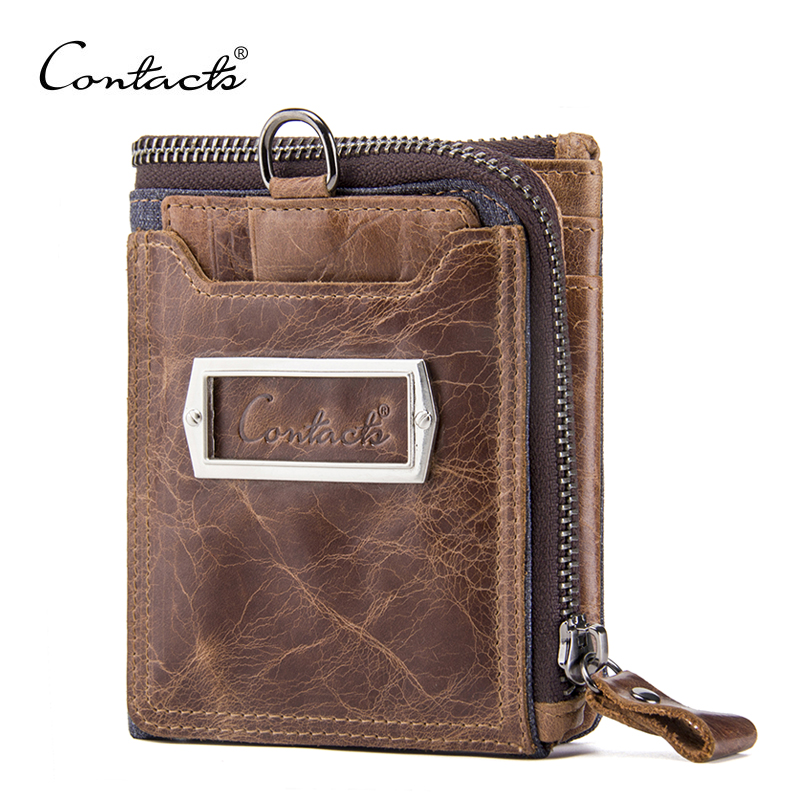 CONTACT'S Genuine Leather Vintage Men Wallets Coin Purse Card Holder Small Wallet Portomonee Male Clutch Zipper Clamp For Money genuine leather men wallets short coin purse vintage double zipper cowhide leather wallet luxury brand card holder small purse
