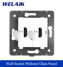 WELAIK Brand Manufacturer EU Standard 2HDMI Socket  DIY Parts   Wall HDMI Socket parts Without Glass Panel White A82HD