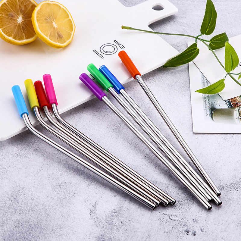 8 Uds. De acero inoxidable sorbetes reutilizables pajillas metálicas de repuesto con puntas de silicona cepillo de limpieza PAK55