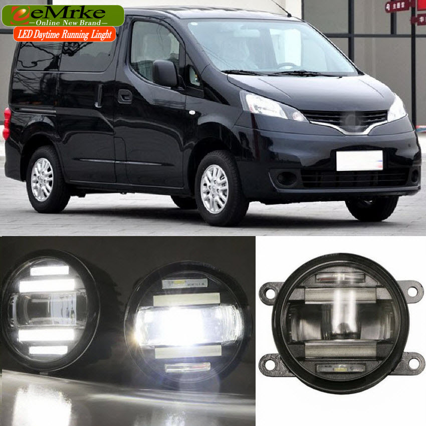 eeMrke Car Styling For Nissan NV200 Evalia Europe/Asia 2in1 Multifunction LED Fog Lights DRL With Lens Daytime Running Lights eemrke car styling for opel zafira opc 2005 2011 2 in 1 led fog light lamp drl with lens daytime running lights