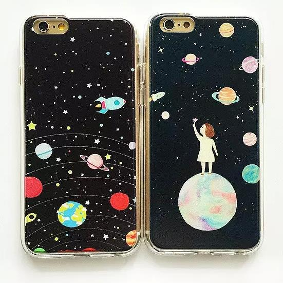 new style 6b64b c6956 US $5.5 |ZMDLDZSW Space Odyssey Planets Cartoon Slim Hybrid PC Cover For  iPhone 5 s 5se 6 s plus 7 7plus 8 8plus Fashion Girl Phone Case-in Fitted  ...