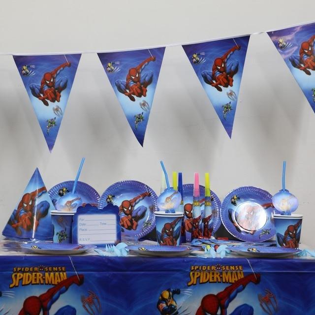 104pcs luxury kids boy party supplies lego spiderman paper cups ...