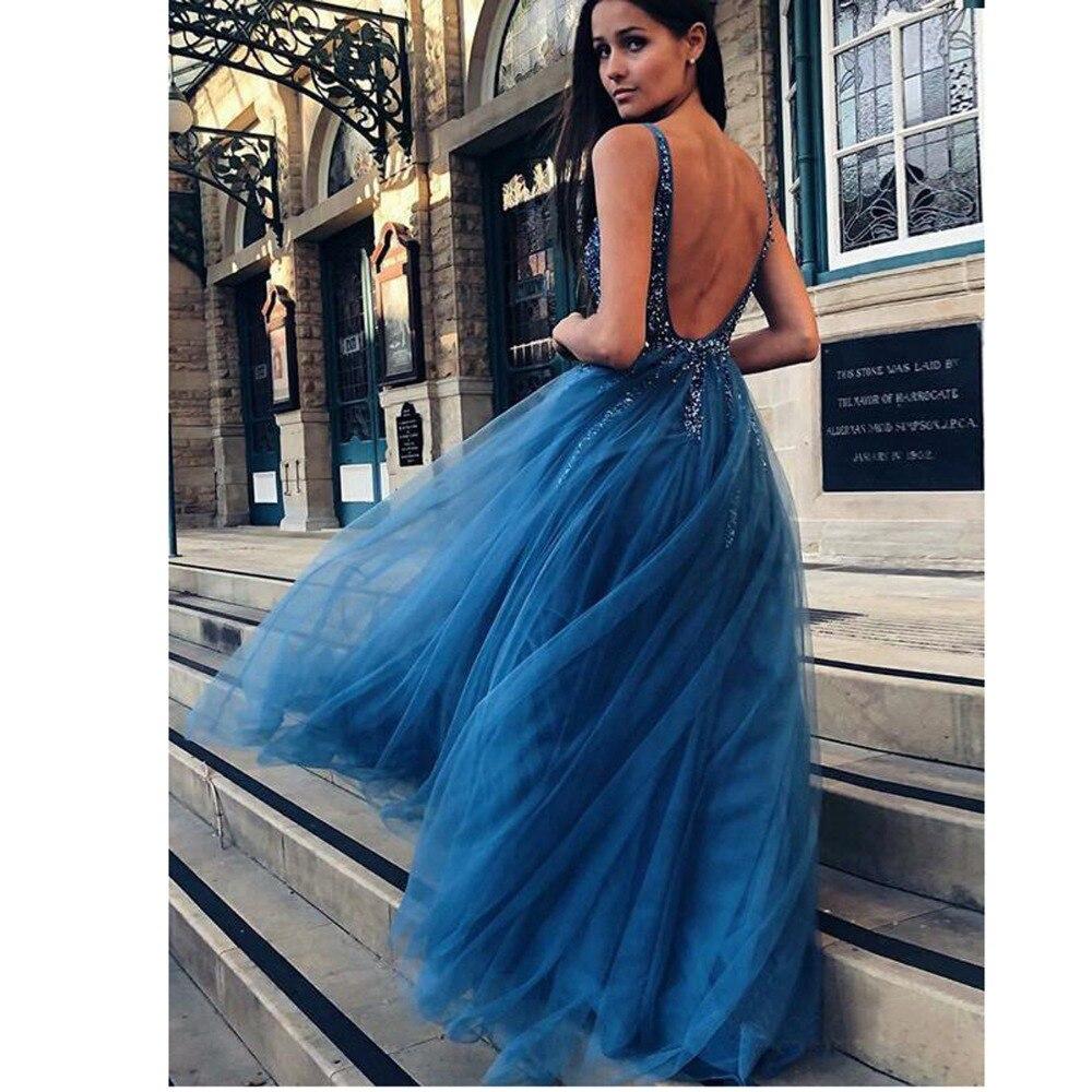 49c5ba668d51e ligne Paillettes A Mode Beige menthe Robe marine rose Brillant Nu Bal  Longue Dos Sexy Robes 2019 Formelle Bleu ...