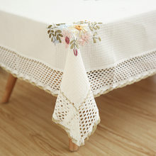 Europe Flowers Tablecloth White Hollow Lace Cotton Linen Dustproof Table cloth Wedding Banquet TV Cabinet Cover Cloth(China)