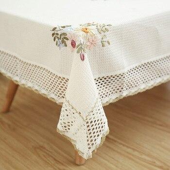 Mantel con diseño de flores de estilo europeo, mantel blanco de lino y algodón con agujeros, mantel a prueba de polvo para bodas, banquetes y TV