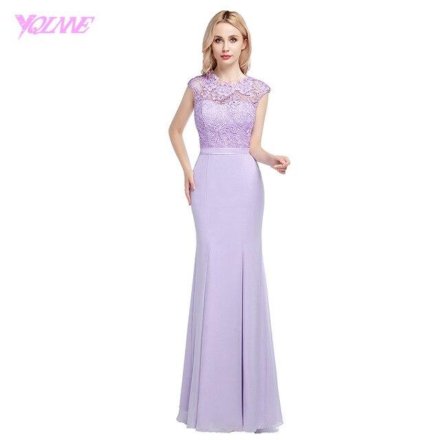 YQLNNE 2018 Lavender Long Chiffon Bridesmaid Dresses Mermaid Lace ...